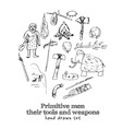 primitive men with tools and weapons isolated hand vector image