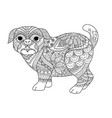 pug coloring vector image vector image