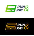 r letter run and pay credit card logo technology vector image vector image
