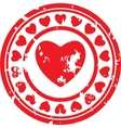 red stamp with the image of heart vector image vector image