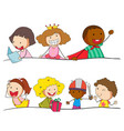 set of doodle kids character vector image vector image