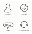 set of line icons for the service and support vector image