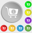 shopping cart icon sign Symbol on eight flat vector image