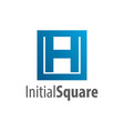 square initial letter h logo concept design vector image vector image
