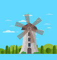 stone windmill building on nature background vector image