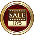 ten percent sale icon vector image vector image