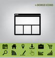 web window sign black icon at gray vector image vector image