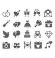 wedding icons set vector image vector image