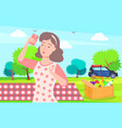 woman on vacation picnic on nature taking selfie vector image