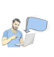 Young man pointing at laptop screen against white vector image vector image