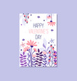 romantic greeting card with the inscription happy vector image