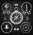 blackboard compass bell lighthouse marine nautical vector image