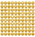 100 kids activity icons set gold vector image vector image