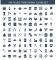 100 traditional icons vector image vector image