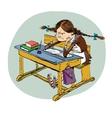 Angry schoolgirl in school vector image vector image