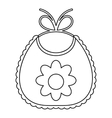 Baby bib with flower icon outline style vector image vector image