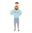 baby on father s shoulders isolate on white vector image