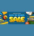back to school horizontal sale banner with school vector image