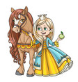 beautiful princess with horse isolated on a white vector image