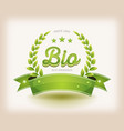 bio and eco label with green banner vector image