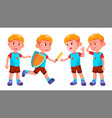 boy kindergarten kid poses set character vector image vector image