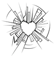 Broken glass and heart vector image vector image