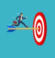 businessman run to bulls eye with dart vector image vector image