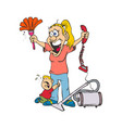caricature woman with tired face and crying child vector image vector image