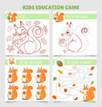 cartoon squirrel kids games find two same vector image vector image