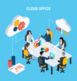 cloud office isometric poster vector image vector image