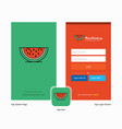 company water melon splash screen and login page vector image