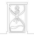 continuous one line dollar hourglass icon concept vector image vector image