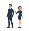 Couple business people in business suits is vector image vector image