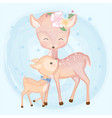 cute baby deer and mother hand drawn animal