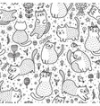 cute cats in the summer seamless pattern vector image