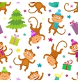 Cute Christmas Seamless Pattern with monkeys and vector image