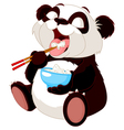 Cute panda eating rice vector image vector image