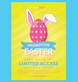 easter egg with bunny ears flyer vector image