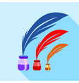 feather and ink sizes icon flat style vector image vector image