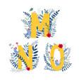 floral alphabet letter m n o set vector image