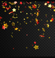 flying glittering gold and red stars vector image vector image