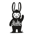 funny monochrome with cute child in bunny costume vector image