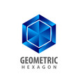 geometric hexagon three dimensional style logo vector image vector image