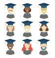 graduation man and woman avatars vector image vector image