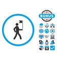 Guide Flat Icon with Bonus vector image vector image
