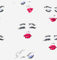 hand drawn woman face with red lipstick in vector image vector image