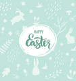 happy easter lettering on light green background vector image