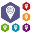 map pin icons set hexagon vector image vector image