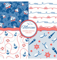 Marine patterns set vector image vector image
