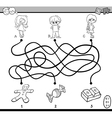 maze puzzle coloring page vector image vector image
